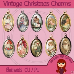 Vintage Christmas Charm Elements - PU/CU