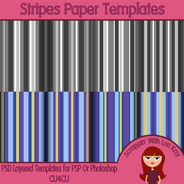 Stripes Layered Paper Templates - Click Image to Close