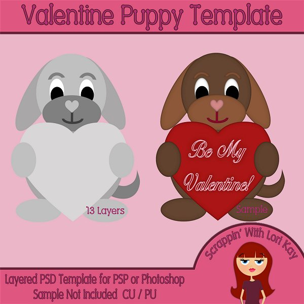 Valentine Puppy Layered Template